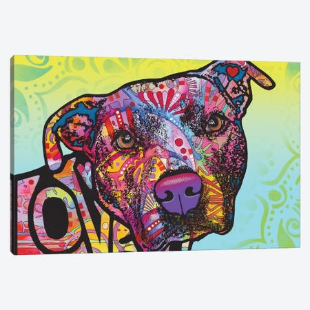 Love You Pit Bull Canvas Print #DRO963} by Dean Russo Canvas Wall Art