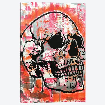Orange Skull Canvas Print #DRO977} by Dean Russo Canvas Wall Art