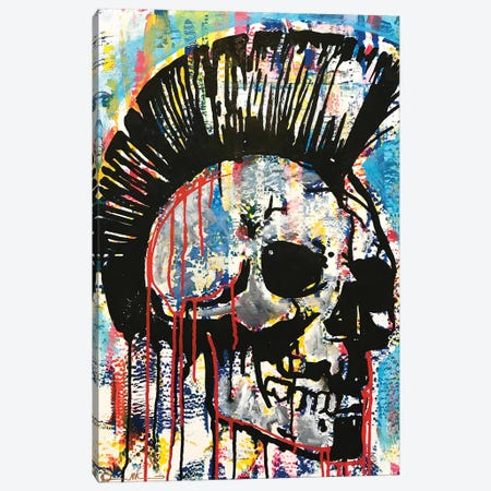 Punk Skull Canvas Print #DRO981} by Dean Russo Canvas Wall Art
