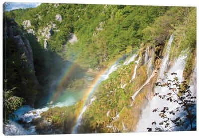 Croatia, Plitvice National Park. Double rainbow lower falls. Canvas Art Print