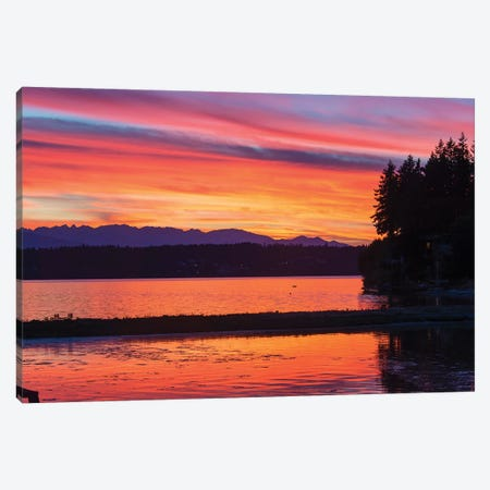 Vibrant Sunset, Kitsap Peninsula, Washington, USA Canvas Print #DRU1} by Trish Drury Canvas Wall Art