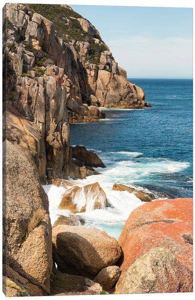 Australia, Tasmania, Maria Island. Haunted Bay. Dramatic lichen patterns on granite bluffs Canvas Art Print