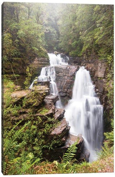 Australia, Tasmania. Cradle Mountain-Lake St. Clair NP, Overland Track. D'alton Falls on side trail Canvas Art Print