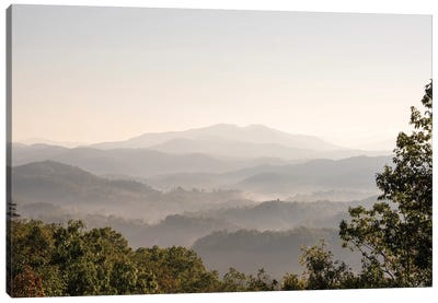 USA, Tennessee. View to Smoky Mountains from Foothills Parkway. Fog in valleys early morning Canvas Art Print