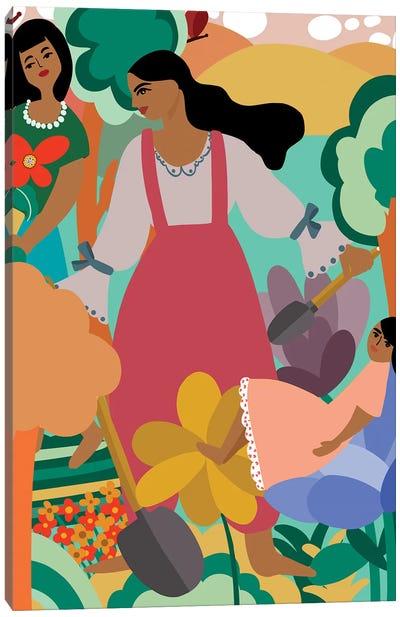 Family Gardening Canvas Art Print