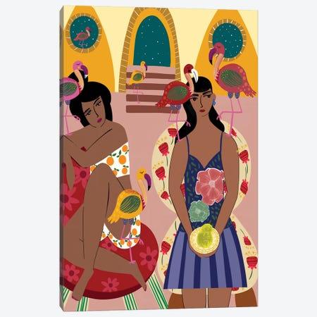Flamingo Town Canvas Print #DRZ15} by Dina Razin Canvas Art Print