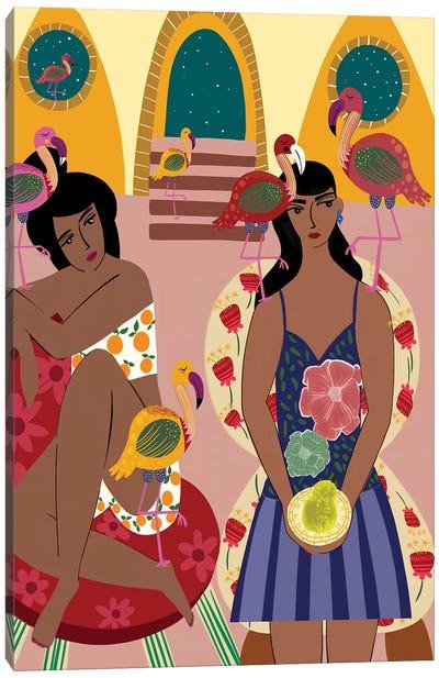 Flamingo Town Canvas Art Print