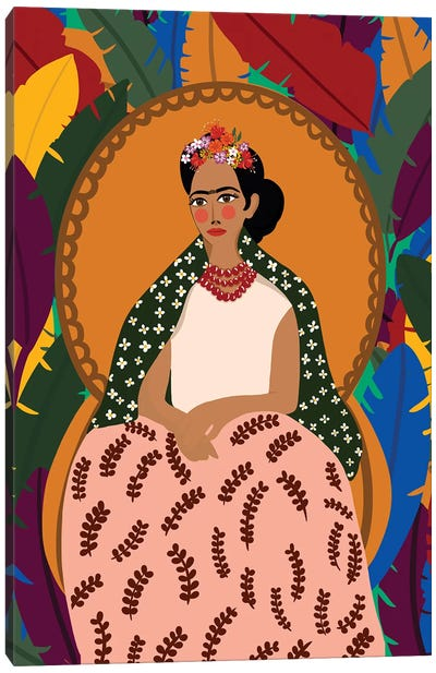 Frida On Her Throne Canvas Art Print