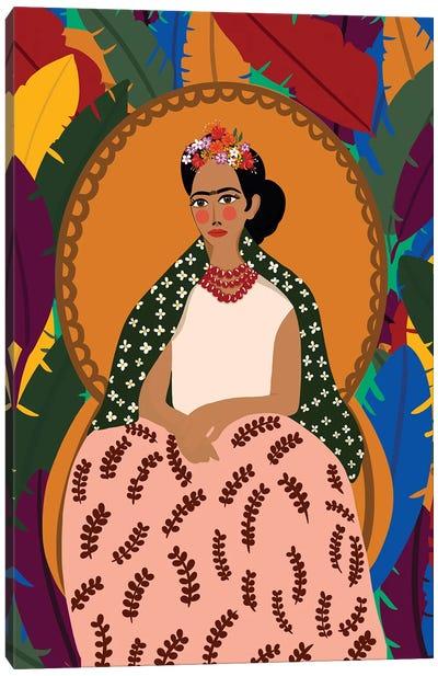 Frida On Her Throne Canvas Art Print