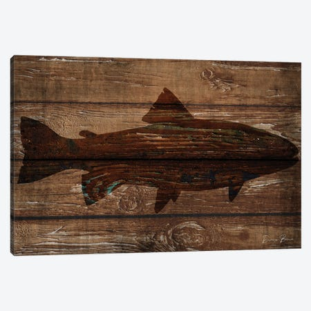Fish Silhouette On Wood Canvas Print #DSB28} by Denise Brown Canvas Wall Art