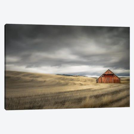 Old Barn In The Winter Field Canvas Print #DSC119} by Don Schwartz Art Print