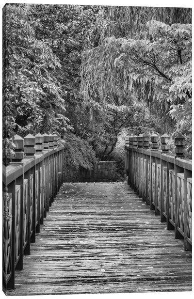 Across The Bridge In B&W Canvas Art Print