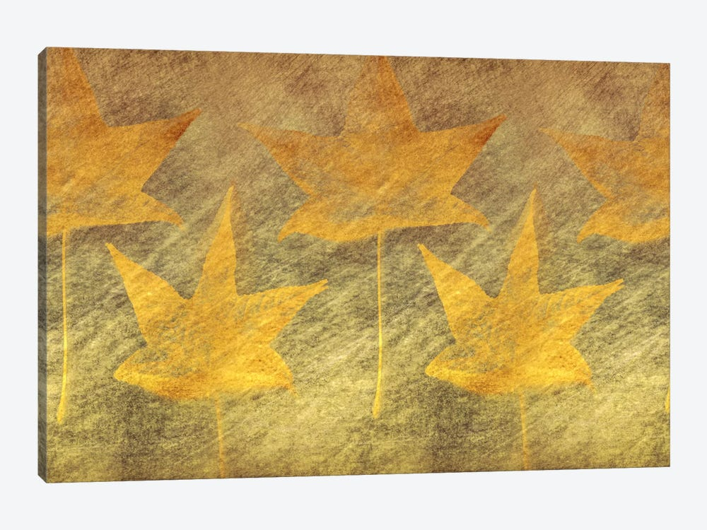 Five Golden Leaves 1-piece Canvas Wall Art