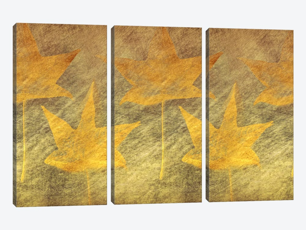 Five Golden Leaves by Don Schwartz 3-piece Canvas Art