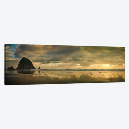 Haystack Sunset Panorama Canvas Print #DSC41} by Don Schwartz Canvas Print