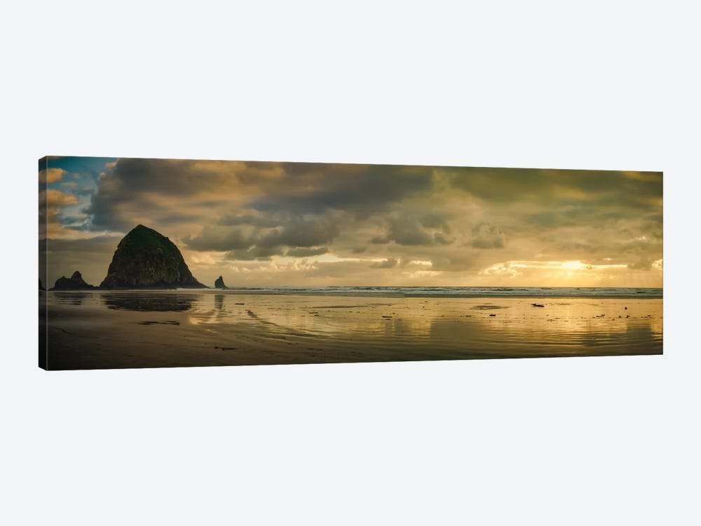 Haystack Sunset Panorama by Don Schwartz 1-piece Canvas Wall Art