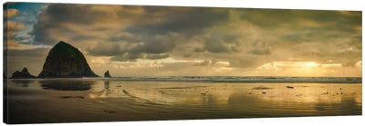 Haystack Sunset Panorama Canvas Art Print
