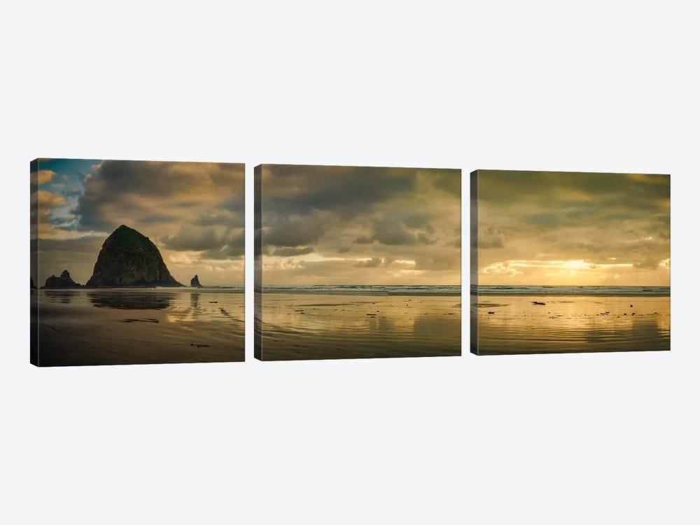Haystack Sunset Panorama by Don Schwartz 3-piece Canvas Artwork