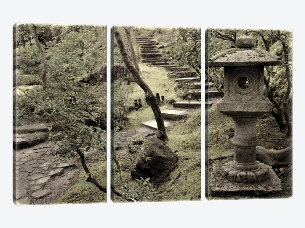 Lantern Along The Path 3-piece Canvas Print
