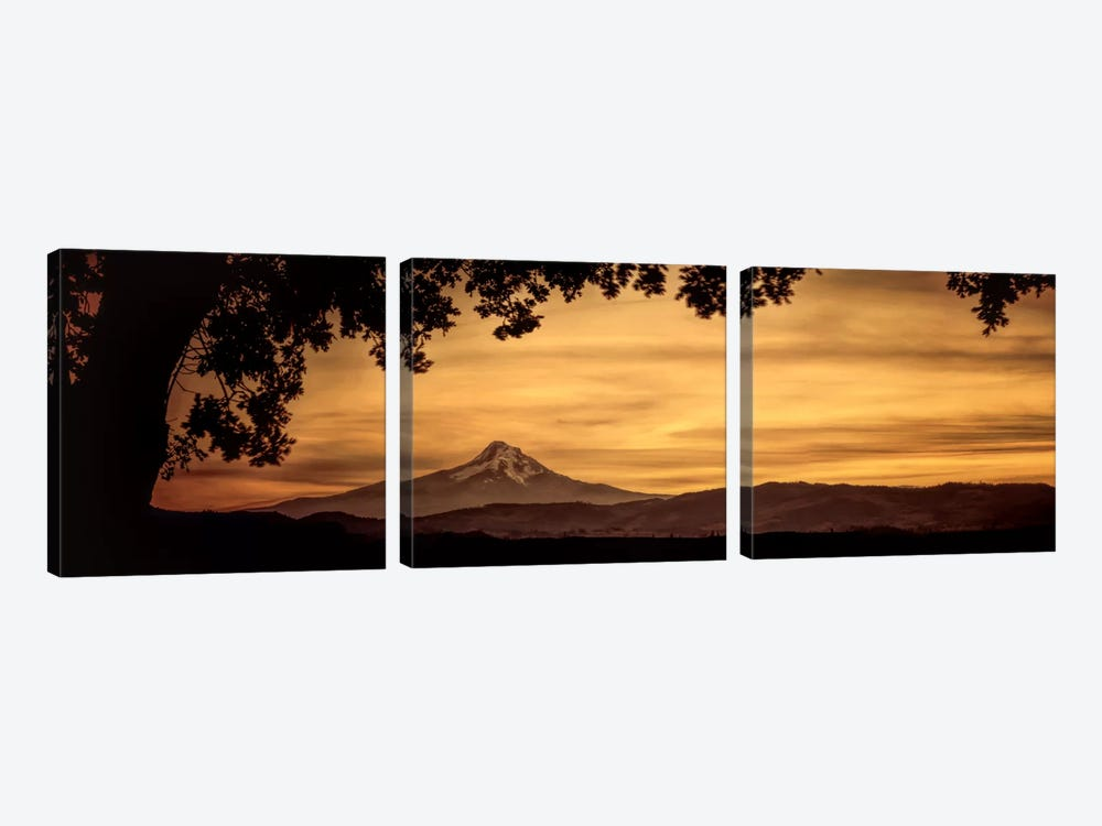 Mt. Hood At Sunset by Don Schwartz 3-piece Canvas Print