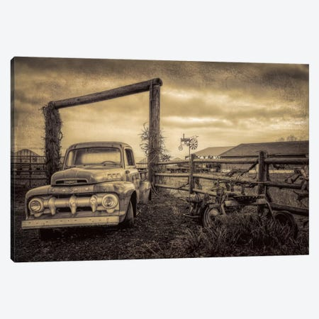 Old Ford At The Farm Canvas Print #DSC61} by Don Schwartz Canvas Art Print