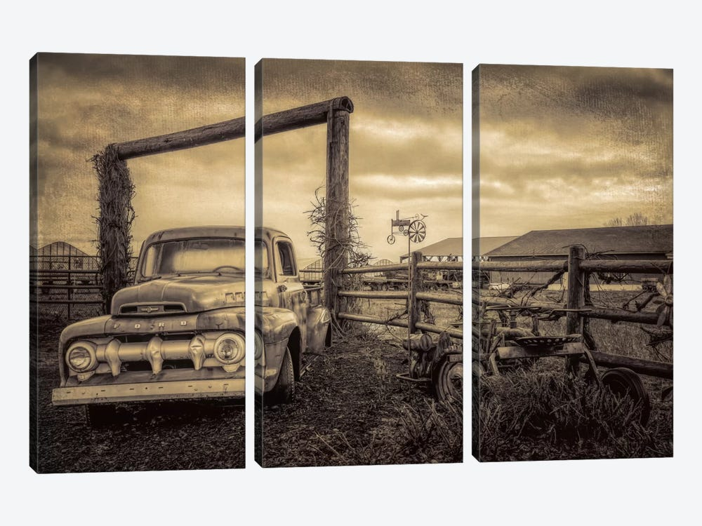 Old Ford At The Farm by Don Schwartz 3-piece Canvas Artwork