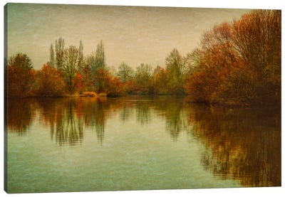 Autumn Morning On The Lake Canvas Print #DSC9