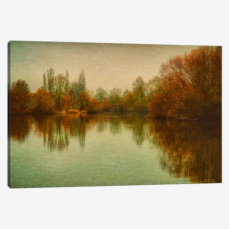 Autumn Morning On The Lake Canvas Print #DSC9} by Don Schwartz Canvas Wall Art