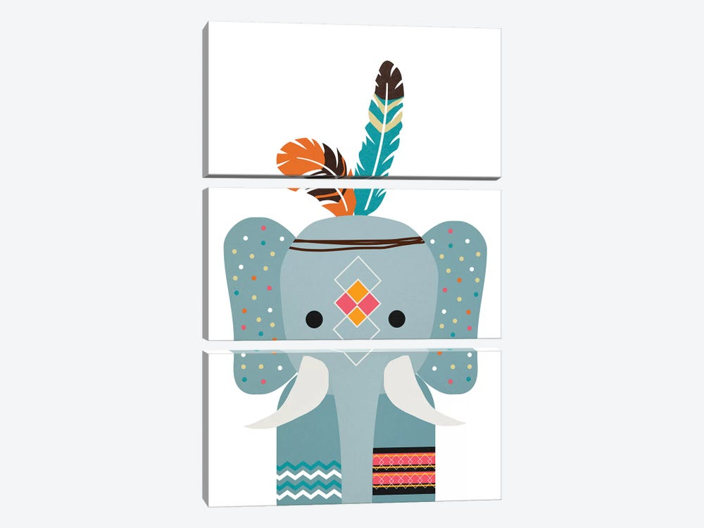Boho Elephant by Daniela Santiago 3-piece Canvas Art Print