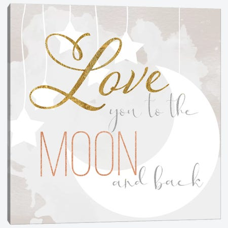 To the Moon Canvas Print #DSG22} by Daniela Santiago Art Print