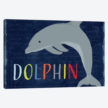 Dolphin Canvas Print #DSG27} by Daniela Santiago Canvas Art