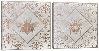 Bee Distressed Diptych Canvas Art Print