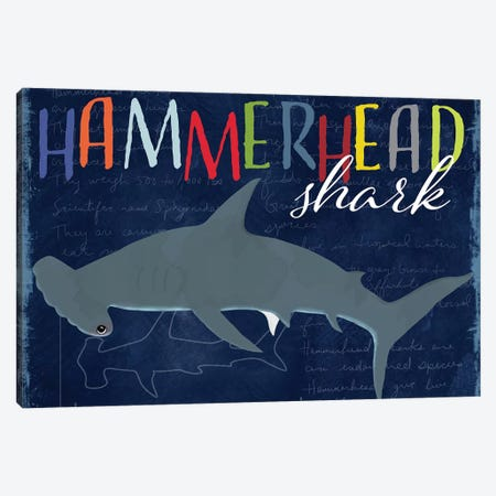 Hammerhead Shark 3-Piece Canvas #DSG31} by Daniela Santiago Canvas Art