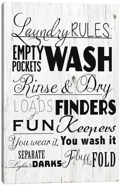 Laundry Rules Canvas Art Print