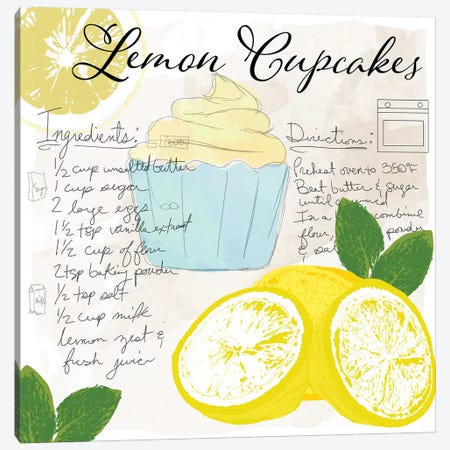 Lemon Cupcakes Canvas Print #DSG33} by Daniela Santiago Canvas Wall Art