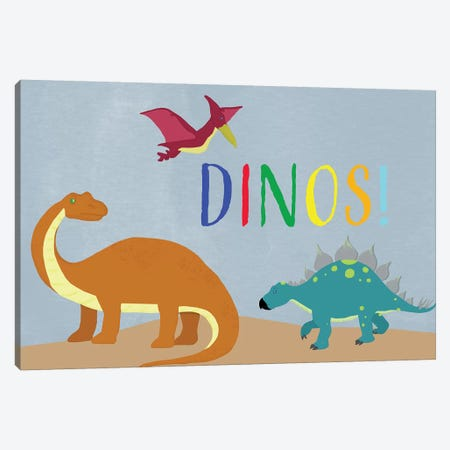 Dinos! Canvas Print #DSG45} by Daniela Santiago Canvas Wall Art