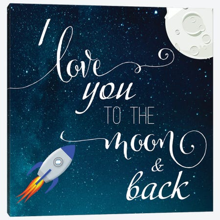 Love You to the Moon Canvas Print #DSG84} by Daniela Santiago Canvas Wall Art