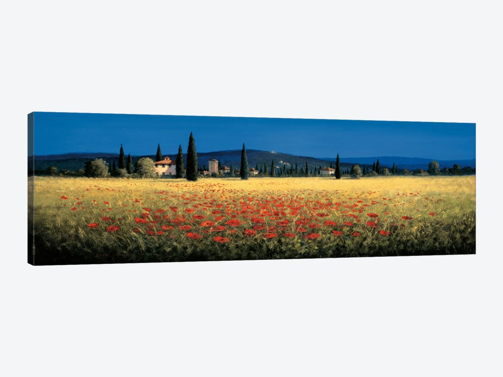 Tuscan Panorama, Poppies by David Short 1-piece Canvas Wall Art