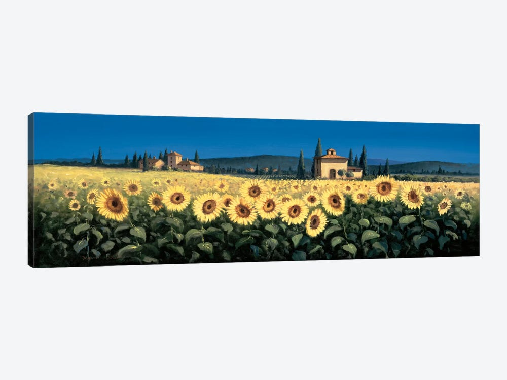 Tuscan Panorama, Sunflowers by David Short 1-piece Canvas Wall Art