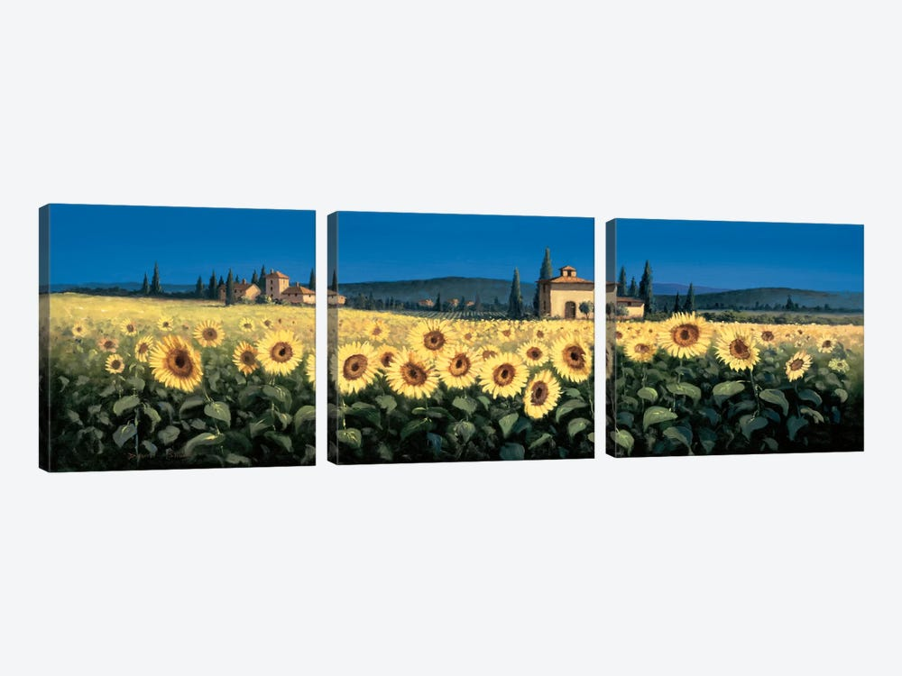 Tuscan Panorama, Sunflowers by David Short 3-piece Canvas Wall Art
