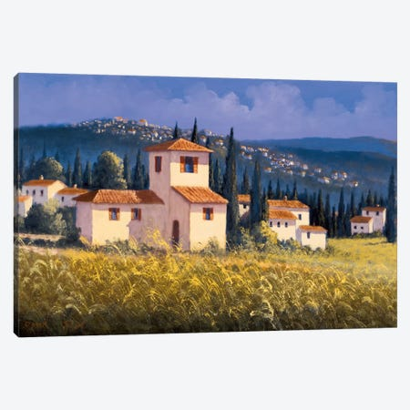 Hillside Village Canvas Print #DSH4} by David Short Canvas Artwork