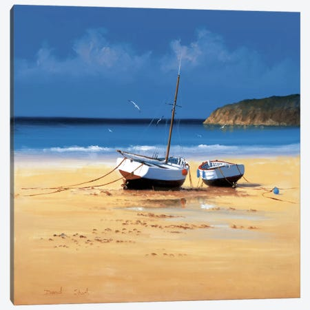 Moorings Low Tide Canvas Print #DSH6} by David Short Canvas Artwork