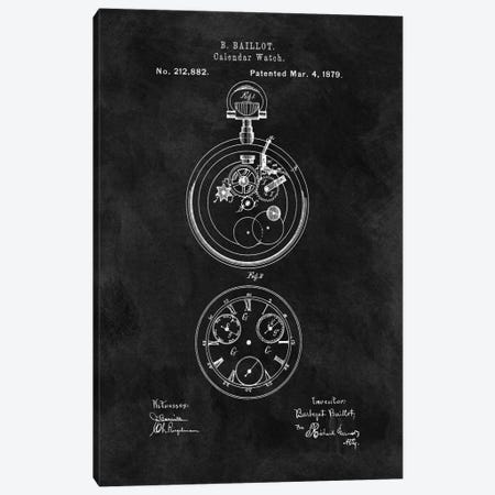 B. Baillot Calendar Watch Patent Sketch (Chalkboard) Canvas Print #DSP10} by Dan Sproul Art Print
