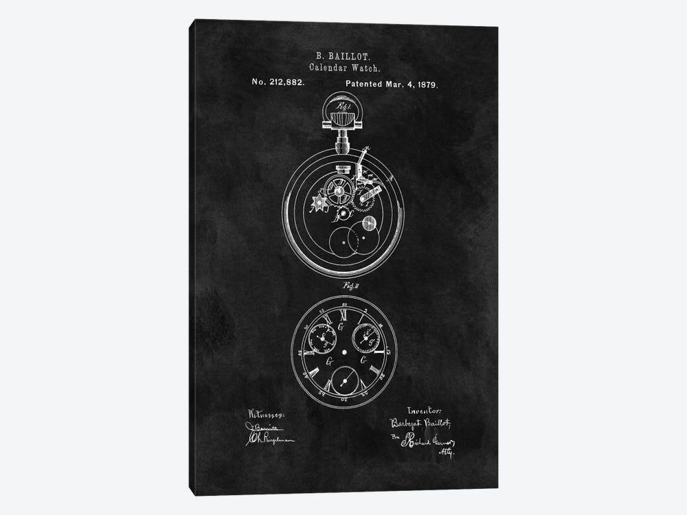B. Baillot Calendar Watch Patent Sketch (Chalkboard) by Dan Sproul 1-piece Canvas Print