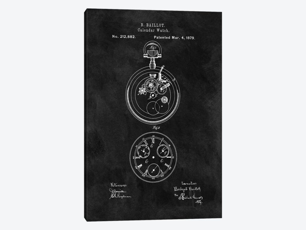 B. Baillot Calendar Watch Patent Sketch (Chalkboard) by Dan Sproul 1-piece Canvas Print