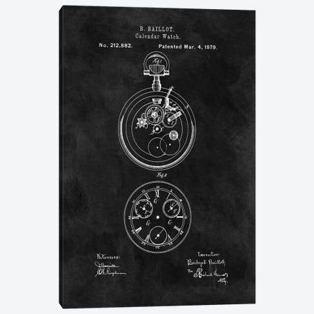 B. Baillot Calendar Watch Patent Sketch (Chalkboard) Canvas Print #DSP10} by Dan Sproul Art Print