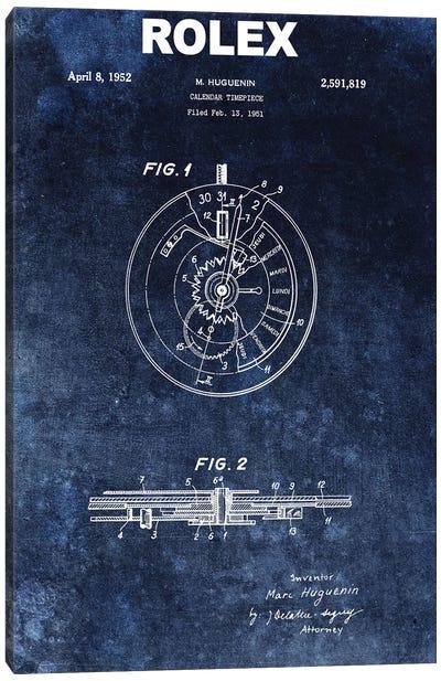 Rolex Calendar Time Piece, 1951- Blue Canvas Art Print