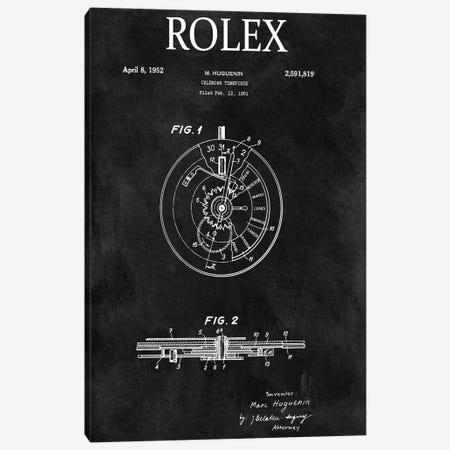 Rolex Calendar Time Piece, 1951- Black Canvas Print #DSP111} by Dan Sproul Canvas Wall Art