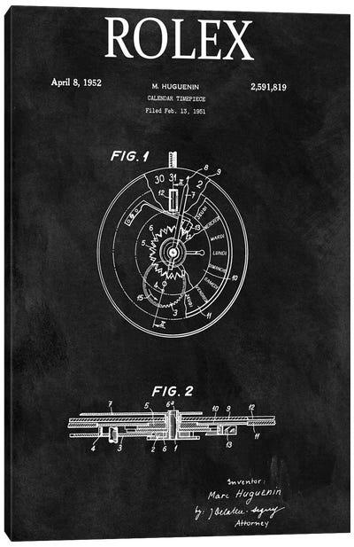 Rolex Calendar Time Piece, 1951- Black Canvas Art Print