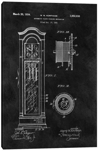 Automatic Clock Winding Mechanism, 1931-Black Canvas Art Print